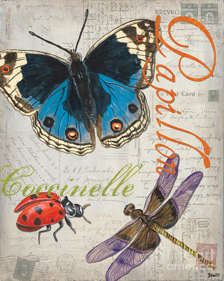 Butterfly Painting - Grey Postcard Butterflies 4 by Debbie DeWitt