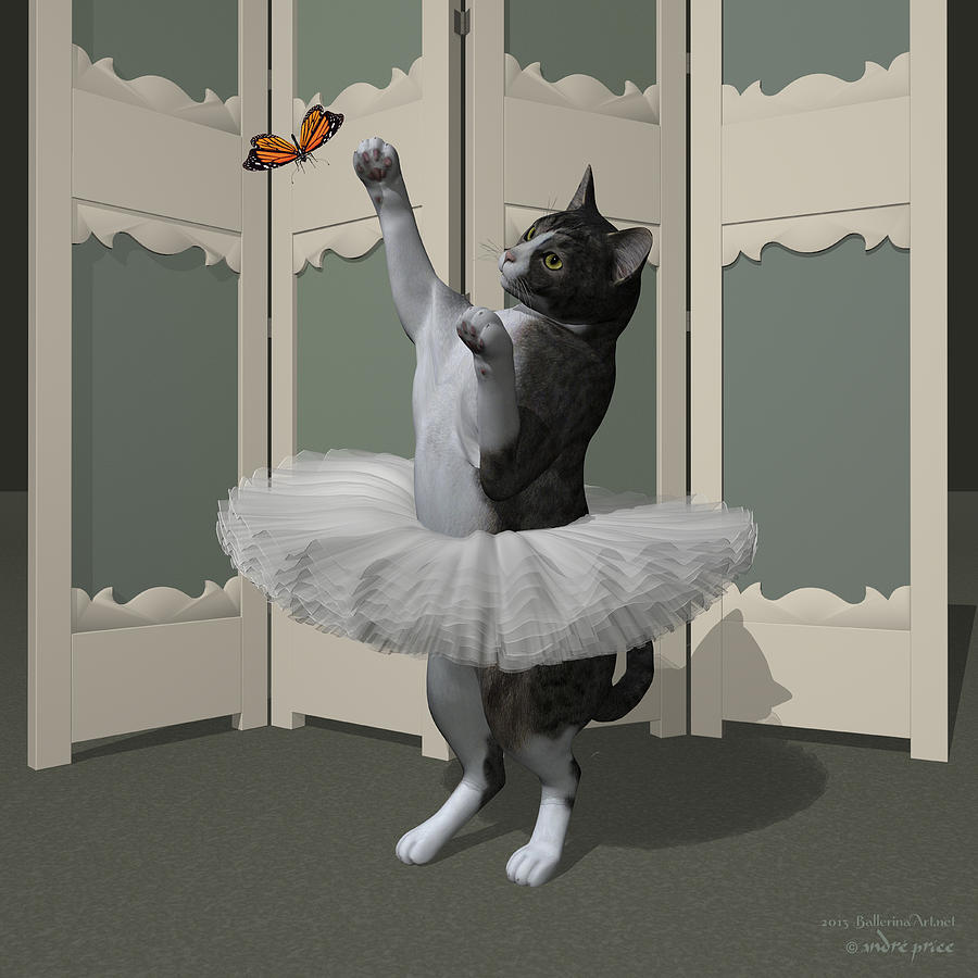Ballet Digital Art - Grey Tabby Ballet Cat On Paw-te by Andre Price