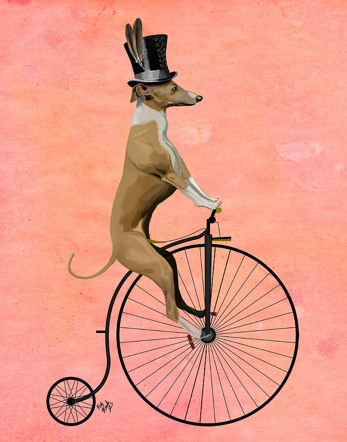 Greyhound Pennyfarthing Black Digital Art by Kelly McLaughlan