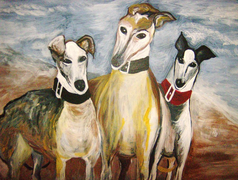 Greyhounds Painting - Greyhounds by Leslie Manley