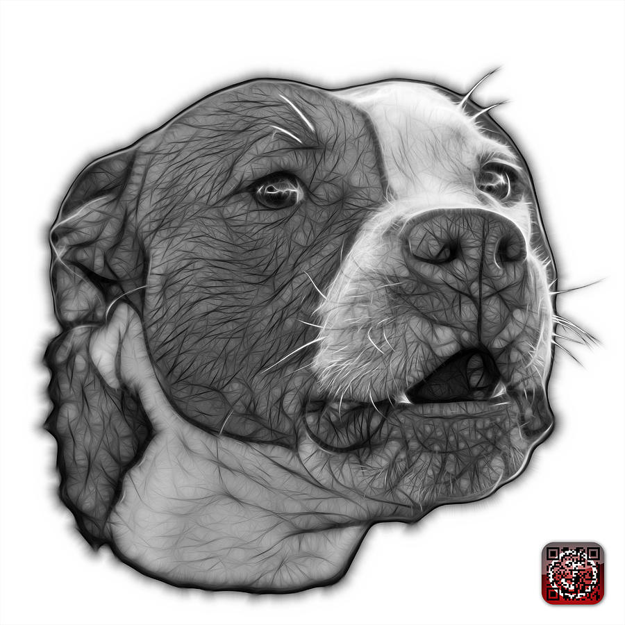 Greyscale Pitbull Dog Art - 7769 - Wb - Fractal Dog Art