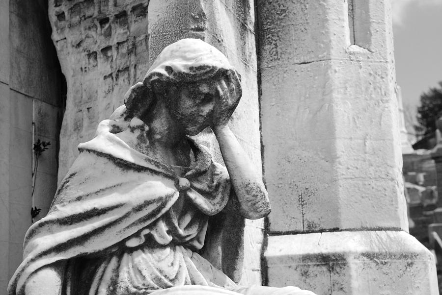 Cemetery Photograph - Grieving Statue by Jennifer Ancker
