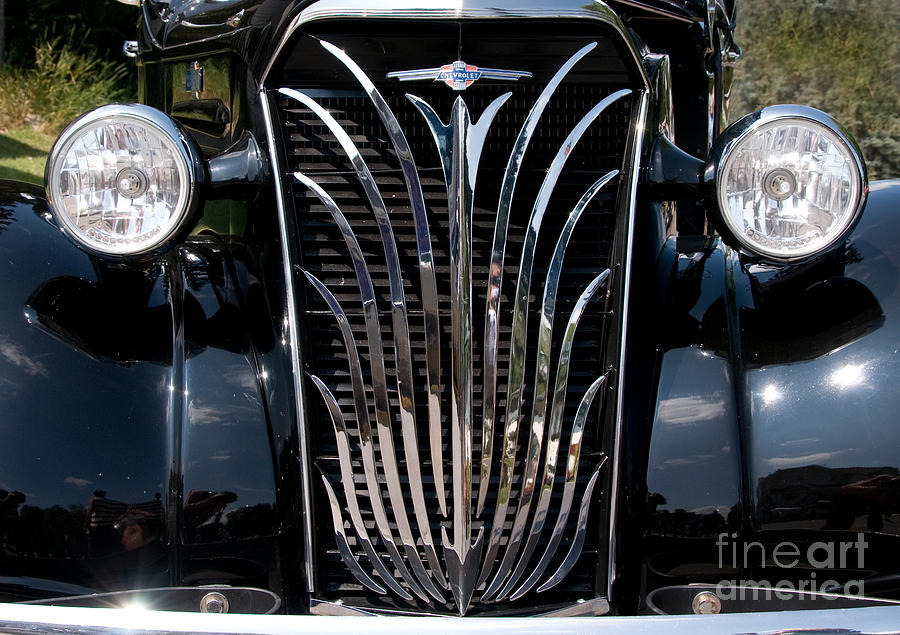 Grill Photograph - Grill And Headlights by Vivian Christopher