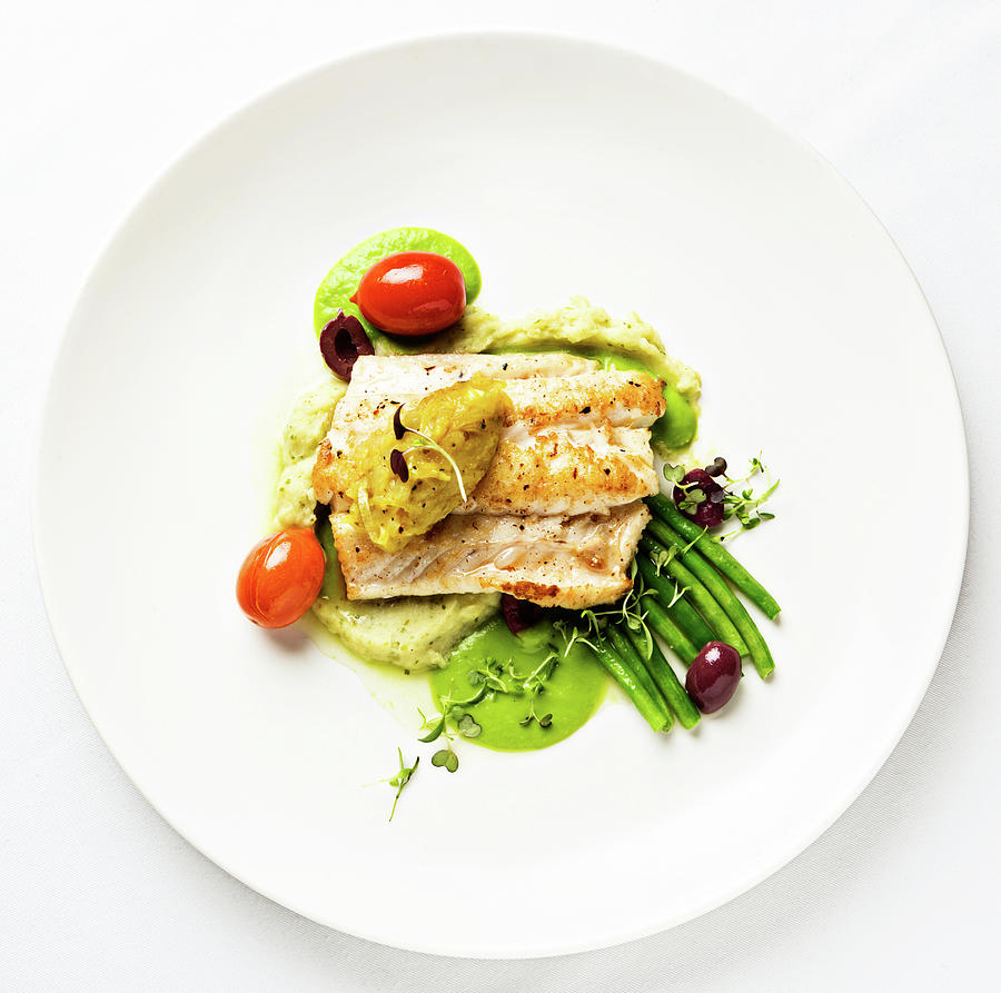 Grilled Fish With Lentil Puree And Photograph by Rapideye