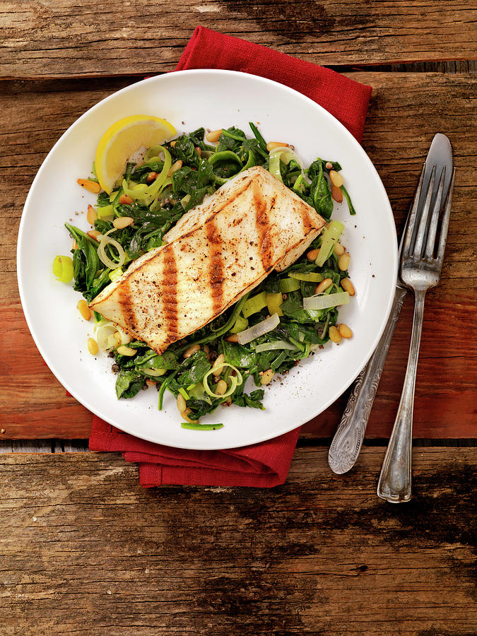 Grilled Halibut With Spinach, Leeks And Photograph by Lauripatterson