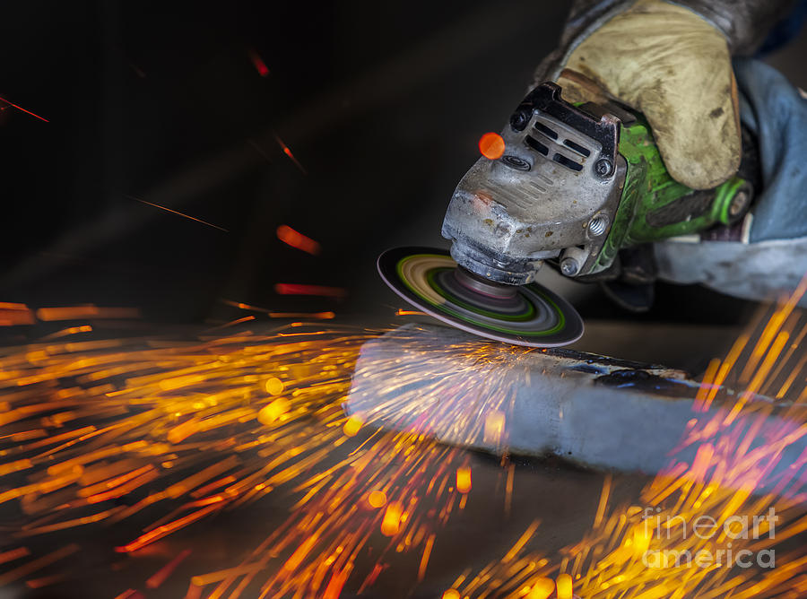 Welding Photograph - Grinding In A Steel Factory  by Anek Suwannaphoom