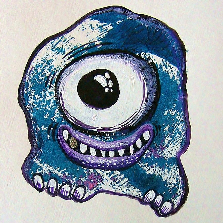 Printmaking Mixed Media - Grinning Monster by Nancy Mitchell