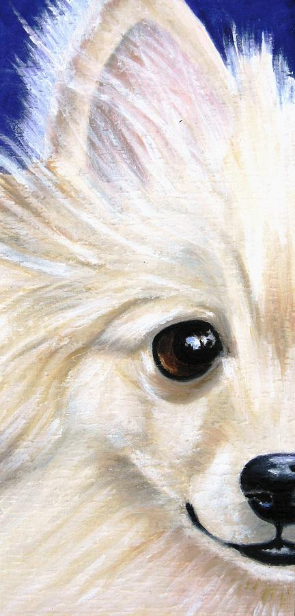 Pomeranian Painting - Grinning Pom by Debbie Finley