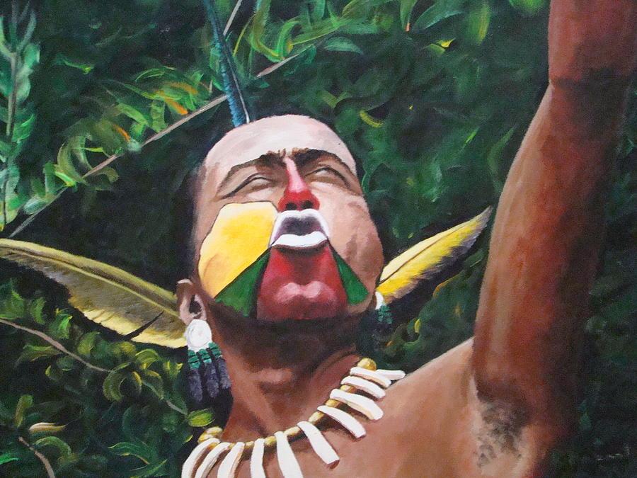 Taino Painting - Grito De Guerra by Migdalia Bahamundi