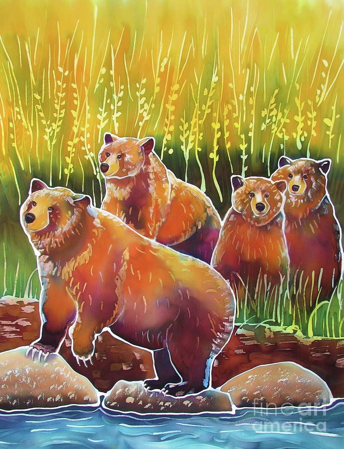 Grizzly Painting - Grizzlies On Wapiti Creek by Harriet Peck Taylor