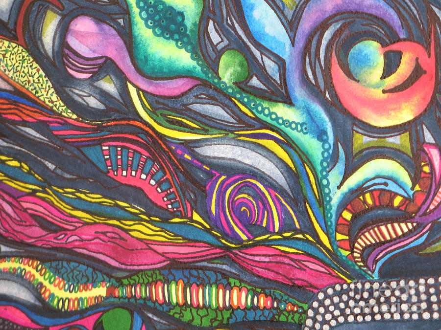 Abstract Painting - Groovy Series Titled Thoughts by Chrisann Ellis