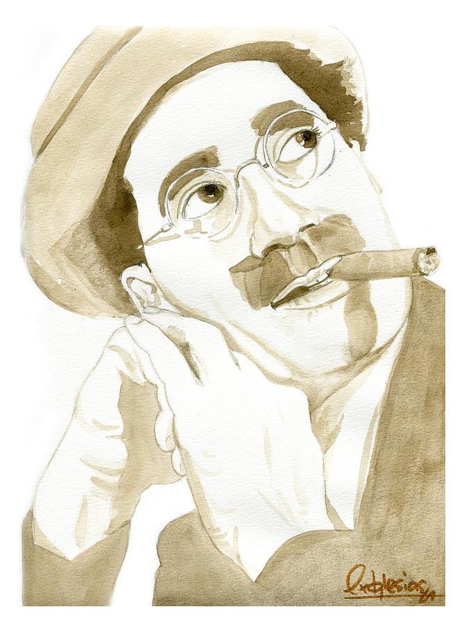 Portrait Painting - Groucho Marx by David Iglesias