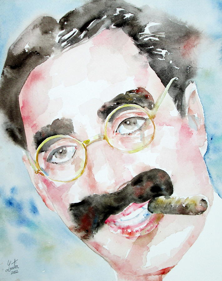 Groucho Painting - Groucho Marx Watercolor Portrait.2 by Fabrizio Cassetta