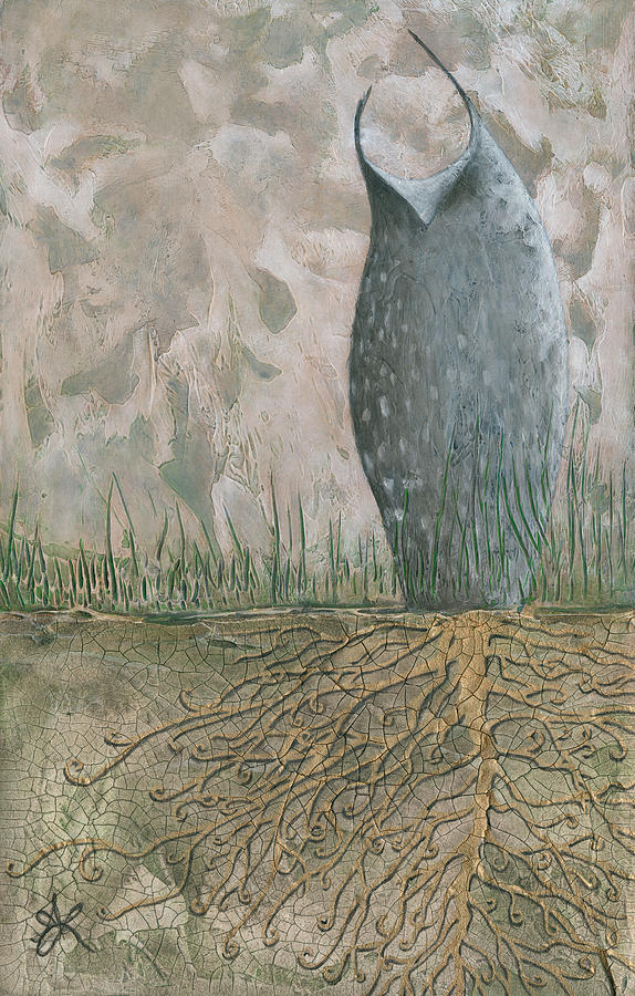 Owl Painting - Grounded by Aprille Lipton