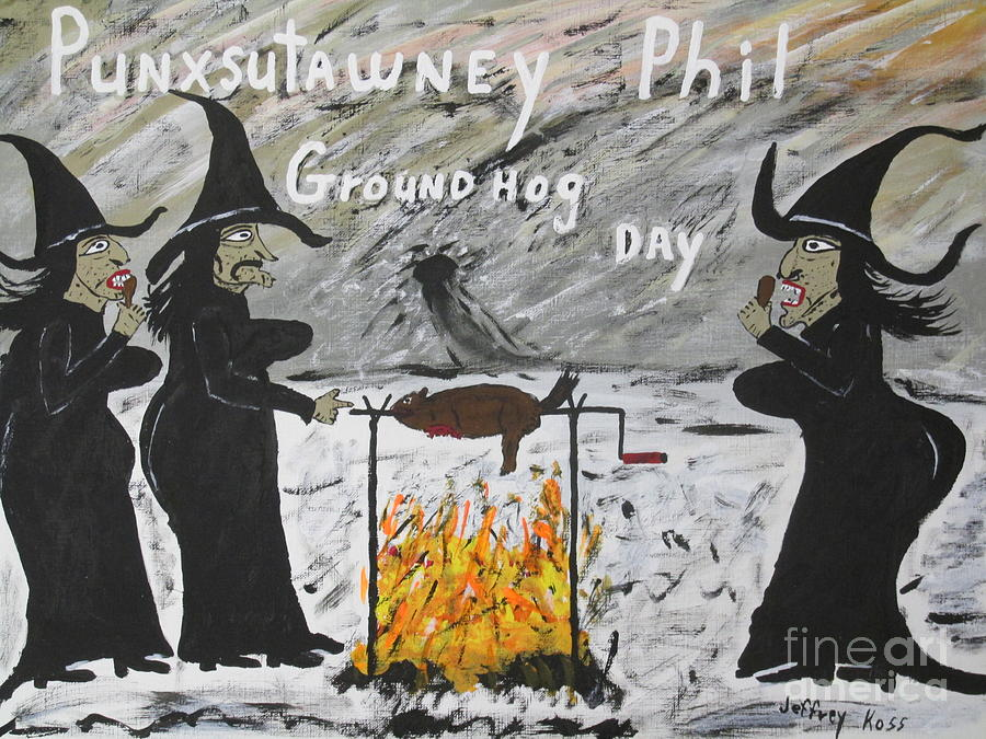 Groundhog Painting - Groundhog Day by Jeffrey Koss