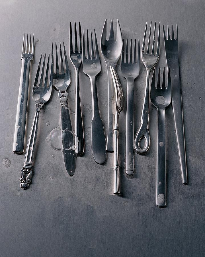 Group Of Clean Forks Photograph by Romulo Yanes