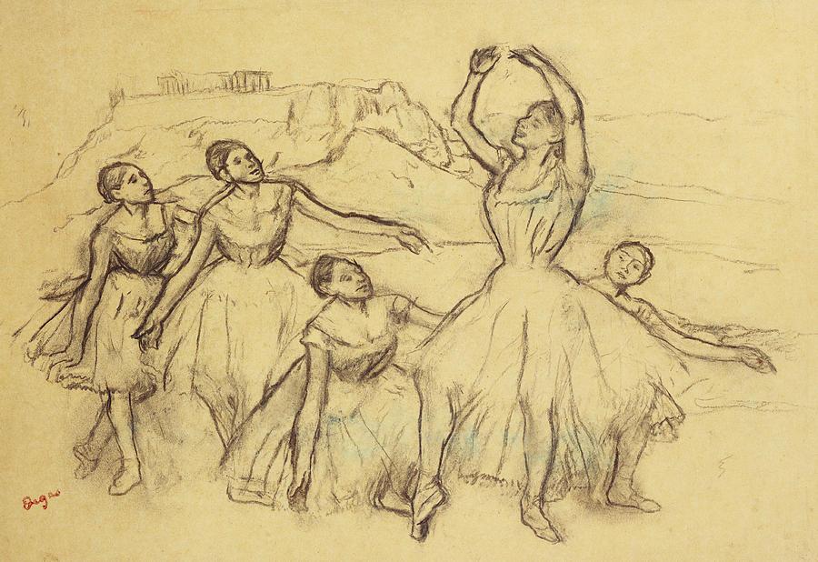 Dancer Drawing - Group Of Dancers by Edgar Degas