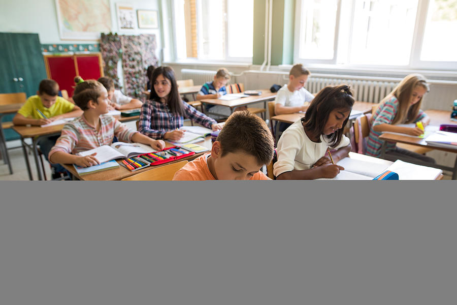 Group of school children studying in the classroom. Photograph by Skynesher