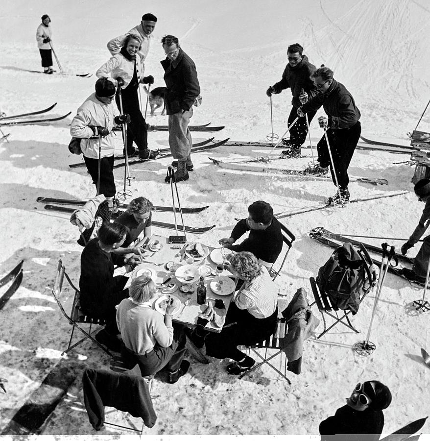 Group Of Skiers At Sant Moritz Photograph by Roger Schall