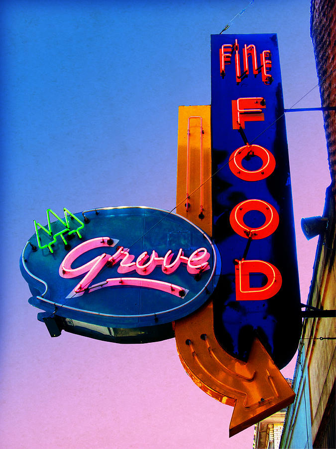 Neon Sign Photograph - Grove Fine Food by Gail Lawnicki