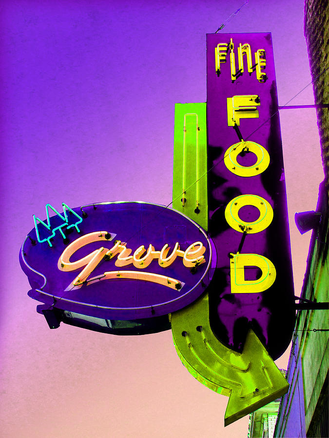 Retro Sign Photograph - Grove Fine Food Var 2 by Gail Lawnicki