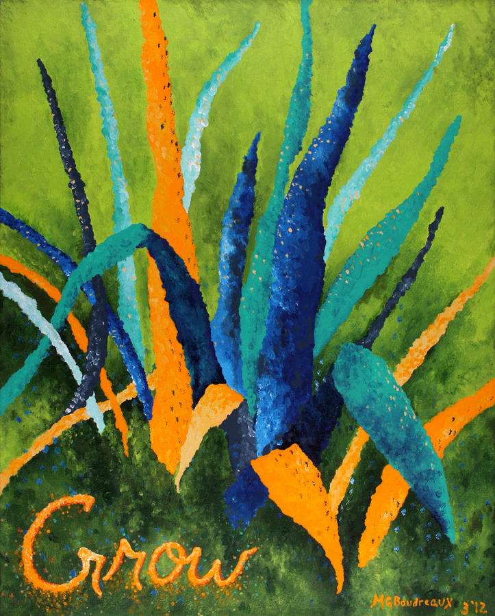 Plant Painting - Grow 1 by Michelle Boudreaux