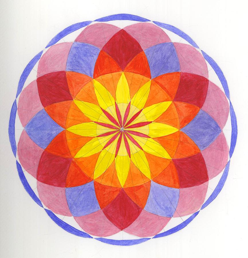 Mandala Painting - Growing Flower by Silvia Justo Fernandez