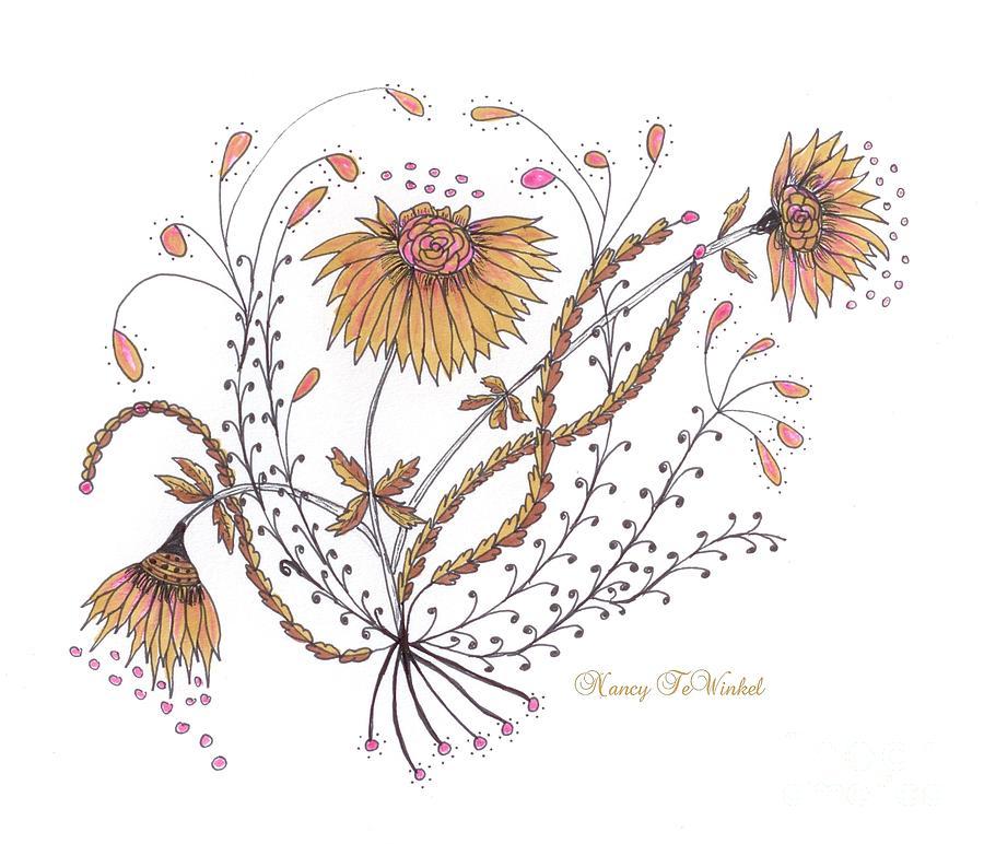 Flowers Drawing - Growing Joy by Nancy TeWinkel Lauren