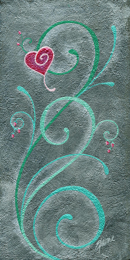 Heart Painting - Growing Love by Elaine Allen