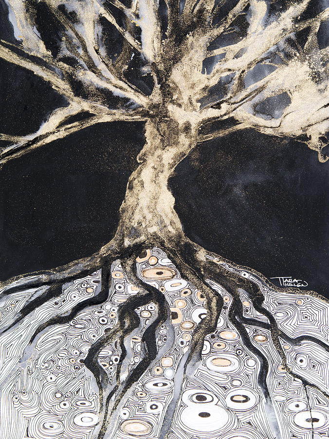 Abstract Painting - Growing Roots by Tara Thelen