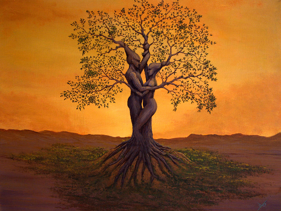 Tree Painting - Growing Together by Michael Wheeler