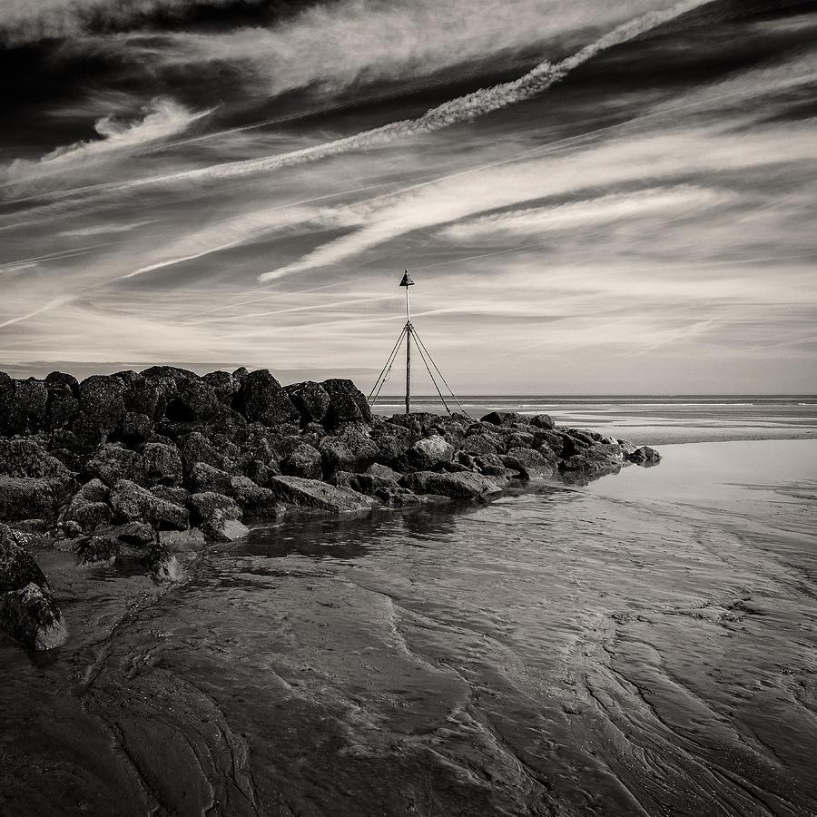 Prestatyn Photograph - Groyne Marker by Dave Bowman