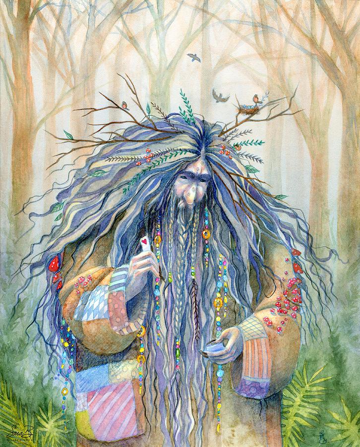 Fantasy Painting - Grumpy Troll by Sara Burrier