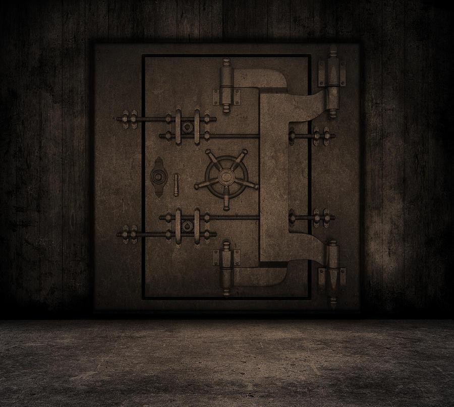 Grunge Digital Art - Grunge Interior With Bank Vault by Kirsty Pargeter