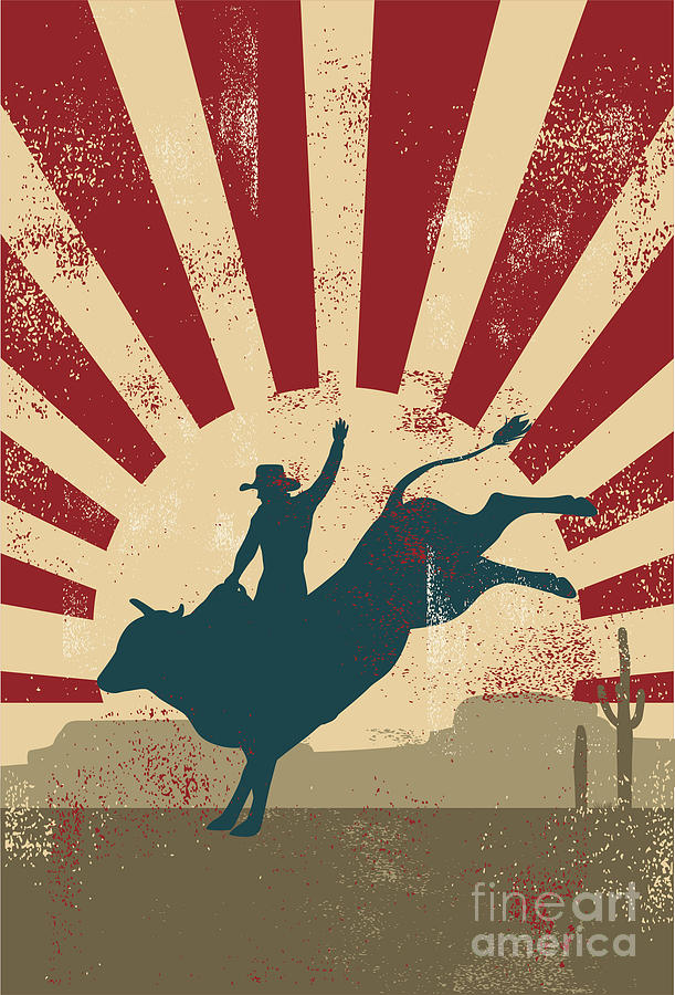 Country Digital Art - Grunge Rodeo Poster,vector by Seita