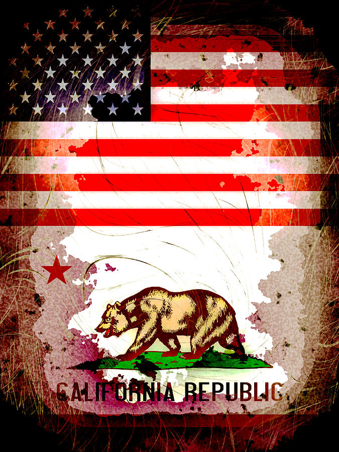 Grunge Style Usa And California Flags Digital Art By David G Paul