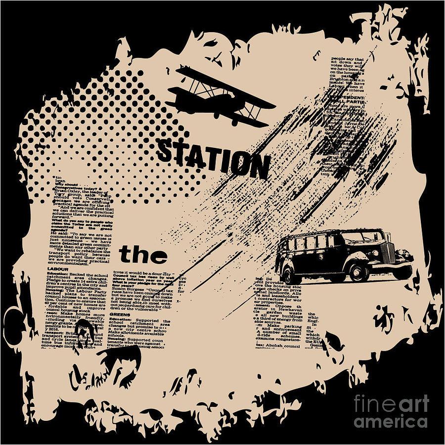 Newspaper Digital Art - Grunge Vector Background by Elanur Us