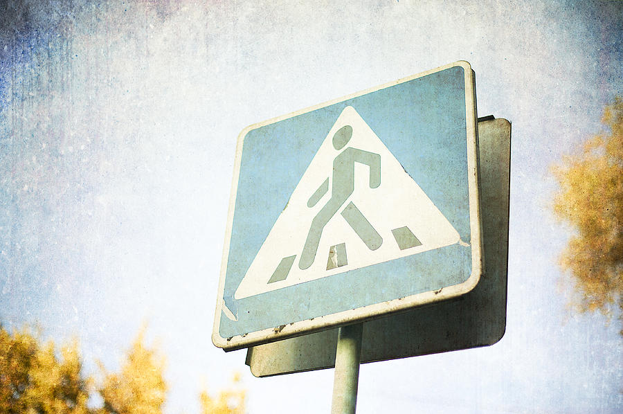 Pedestrian Photograph - Grungy Crossing Sign by Sofia Walker