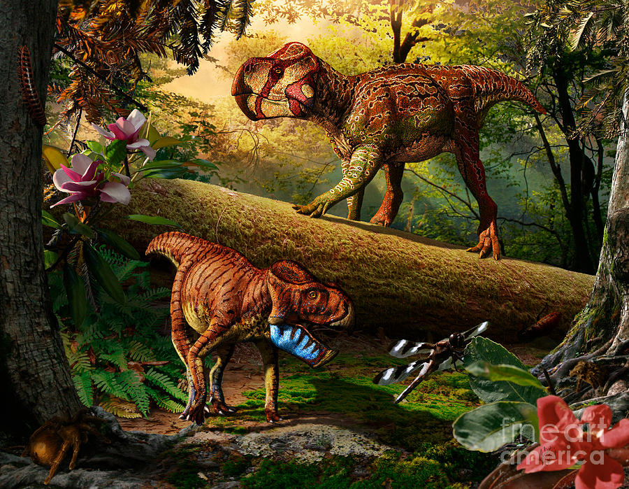 Upper Cretaceous Digital Art - Gryphoceratops And Unescoceratops by Julius Csotonyi