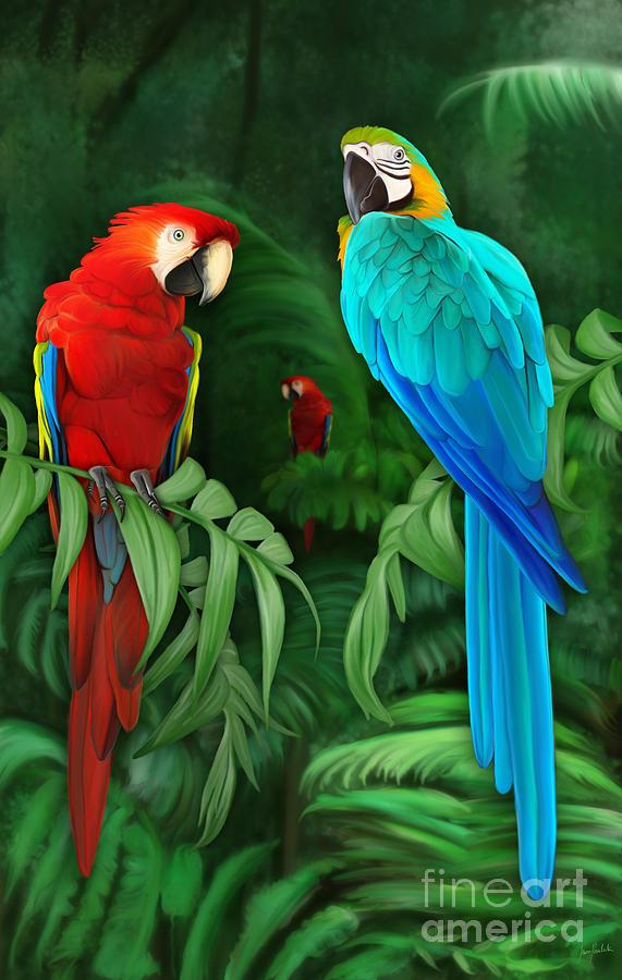 Digital Painting Painting - Guacamayos by Ivan  Pawluk