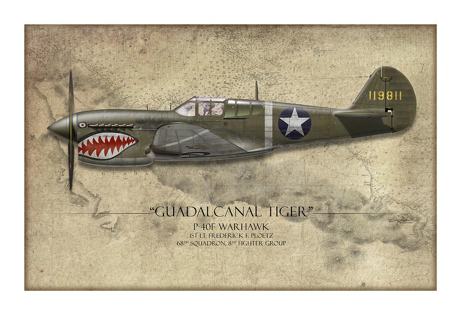 Aviation Painting - Guadalcanal Tiger P-40 Warhawk - Map Background by Craig Tinder