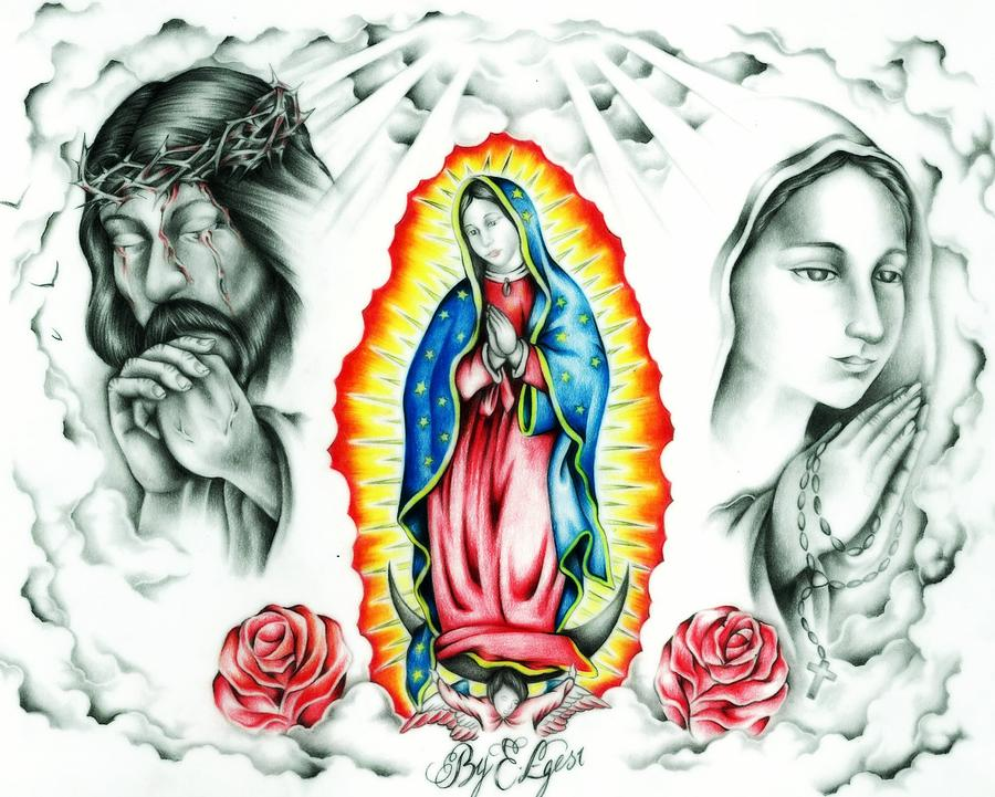 Religious Drawing - Guadalupe by Eddie Egesi