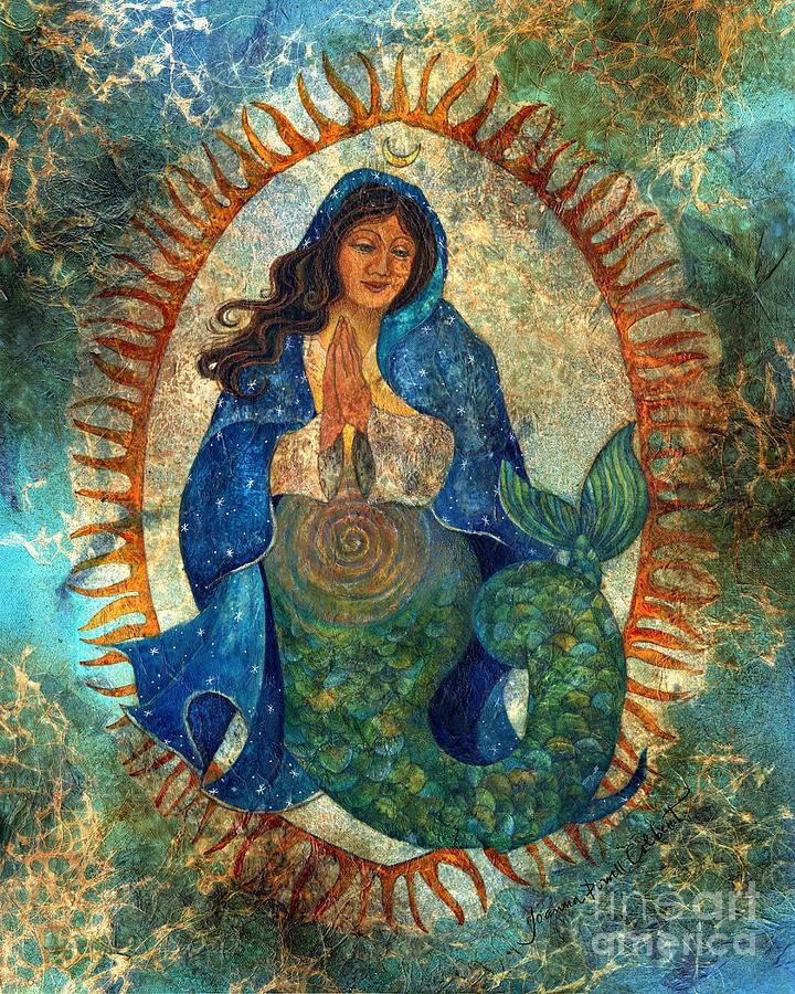 Mermaid Painting - Guadalupe Mermaid by Joanna Powell Colbert