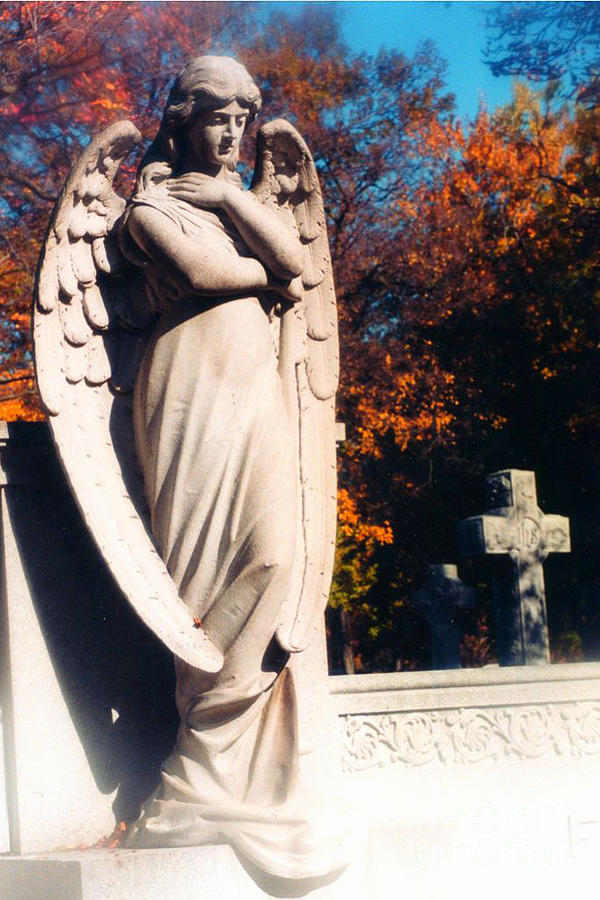 Angel Wings Photograph - Guardian Angel Statue With Cemetery Cross by Kathy Fornal