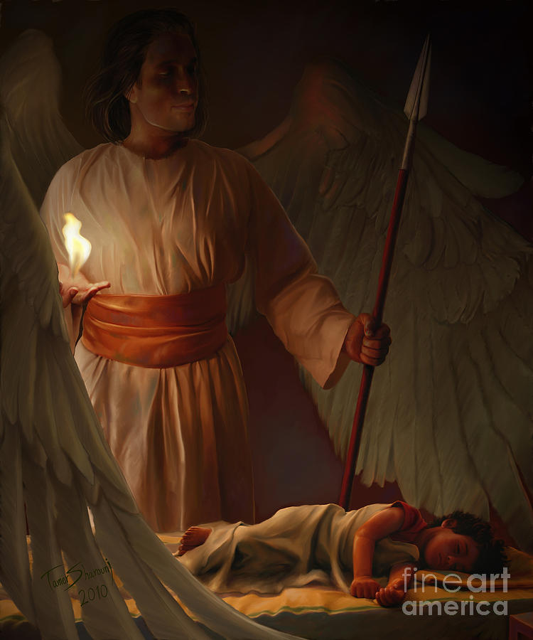 Prophetic Artist Painting - Guardian Angel by Tamer and Cindy Elsharouni