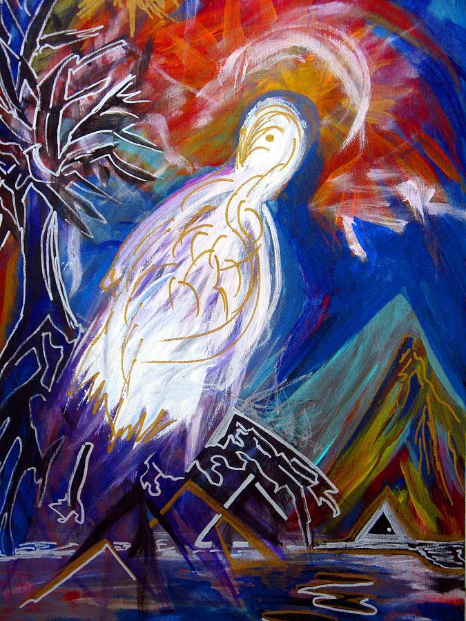 Bird Painting - Guardian Of The Triangle Door by Darryl  Kravitz