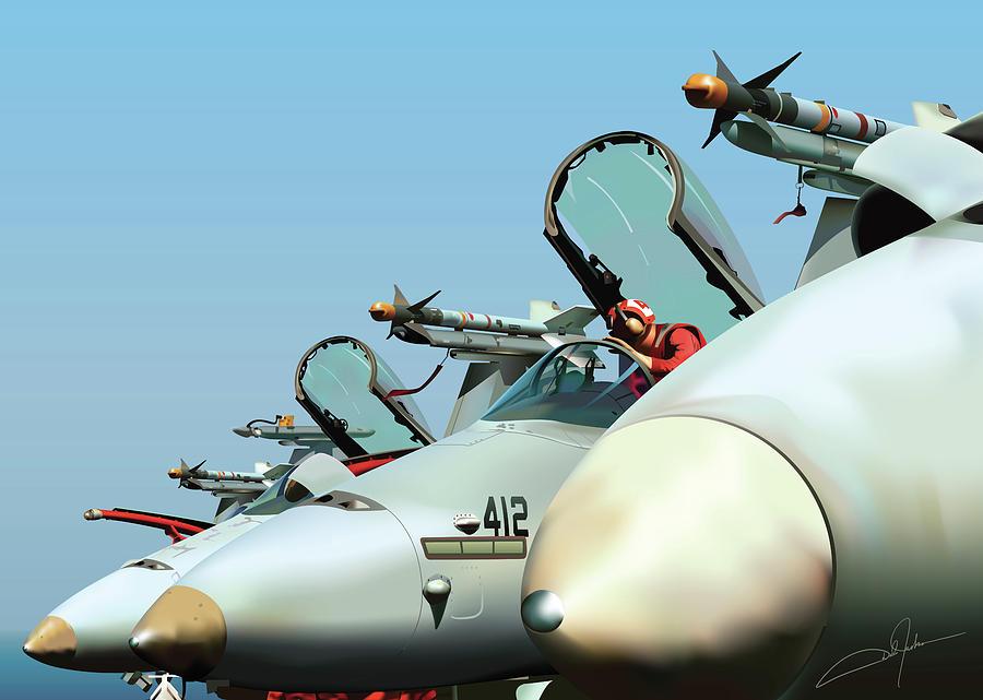 F-18 Digital Art - Guardians At Rest by Dale Jackson