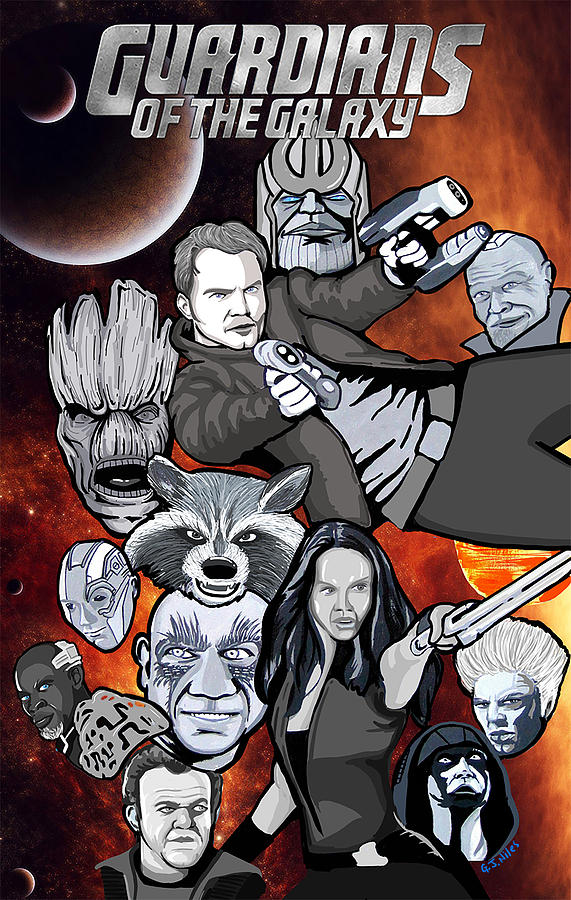 Guardians Painting - Guardians Of The Galaxy Collage by Gary Niles