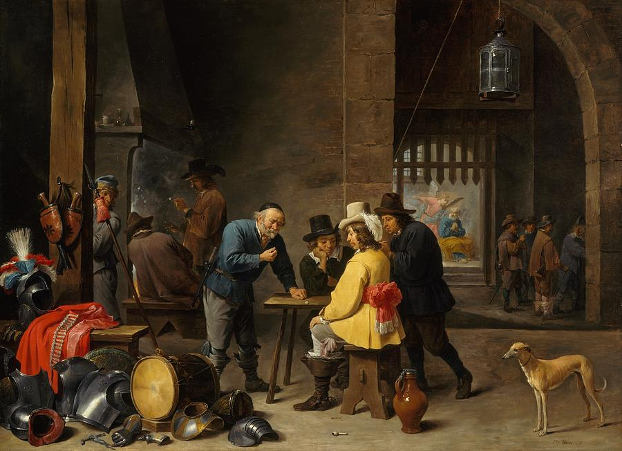 1645 Painting - Guardroom With The Deliverance Of Saint Peter by David Teniers the Younger