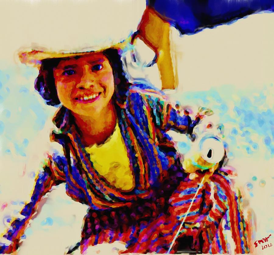 Guatemala Fisher Boy Smiling Painting by Elizabeth Iglesias